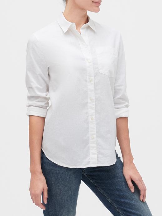 Kadın Beyaz Uzun Kollu Boyfriend Gömlek