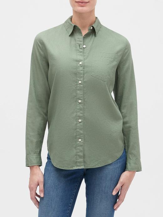 Kadın Yeşil Uzun Kollu Boyfriend Gömlek