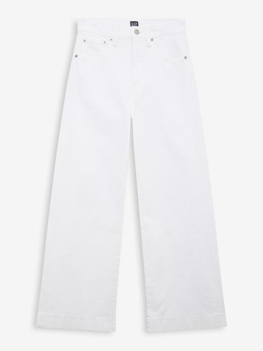 Kadın Beyaz High Rise Wide-Leg Jean Pantolon