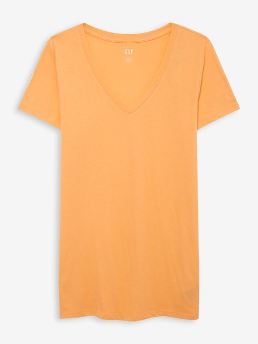 Kadın Turuncu Favorite V Yaka T-Shirt