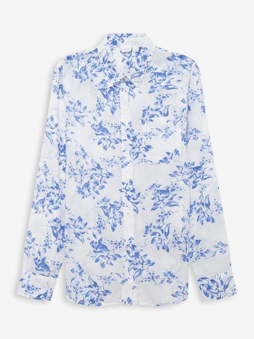 Kadın Mavi Desenli Uzun Kollu Gömlek