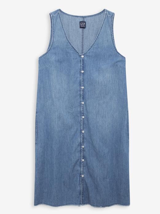 Kadın Mavi V Yaka Denim Elbise
