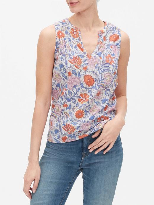 Kadın Pembe Çiçek Desenli Kolsuz Bluz