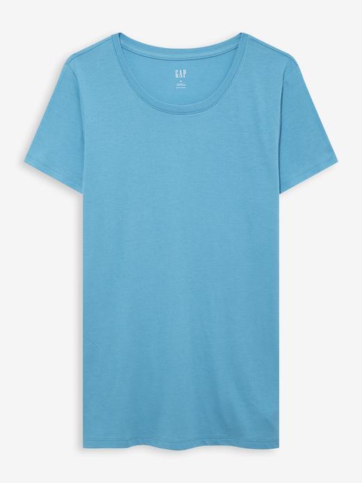 Kadın Mavi Sıfır Yaka T-Shirt