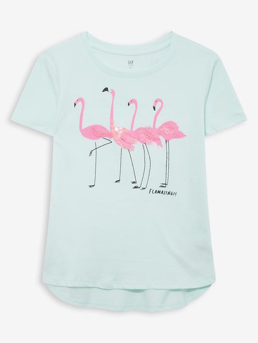 Kız Çocuk Yeşil Pullu Grafik Kısa Kollu T-Shirt