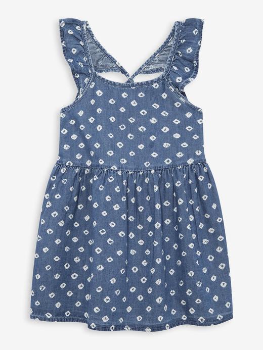 Kız Bebek Mavi Kolları Fırfırlı Denim Elbise