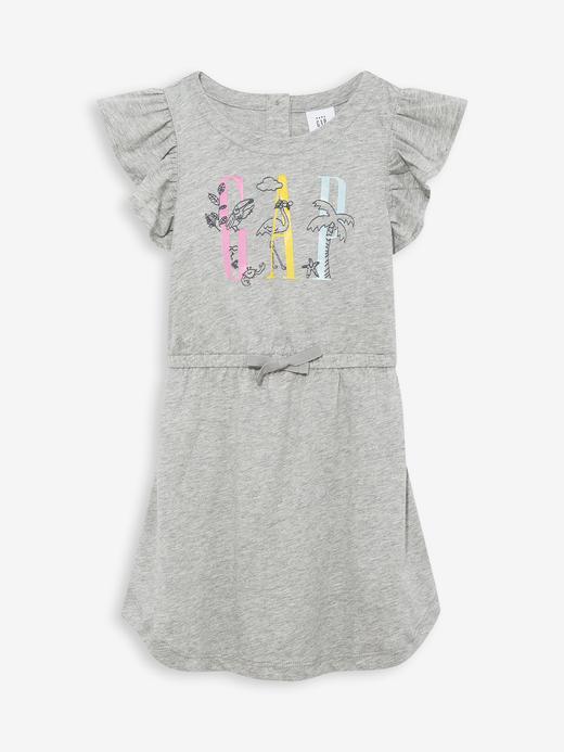 Kız Bebek Gri Fırfırlı Kollu Elbise