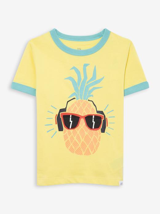 Erkek Bebek Sarı Grafik Kısa Kollu T-Shirt