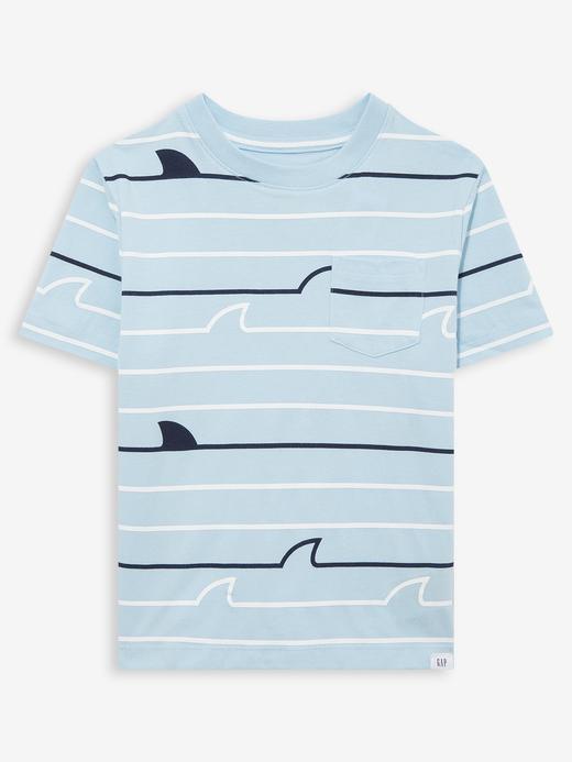 Erkek Bebek Mavi Kısa Kollu Cepli T-Shirt