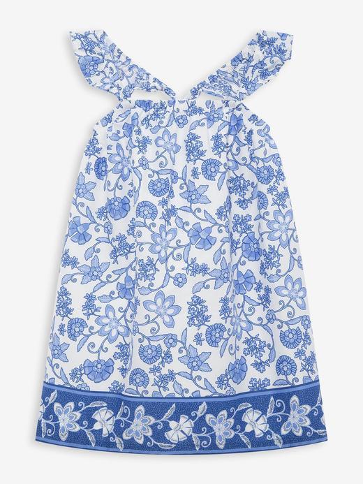 Kız Bebek Mavi Fırfırlı Desenli Elbise