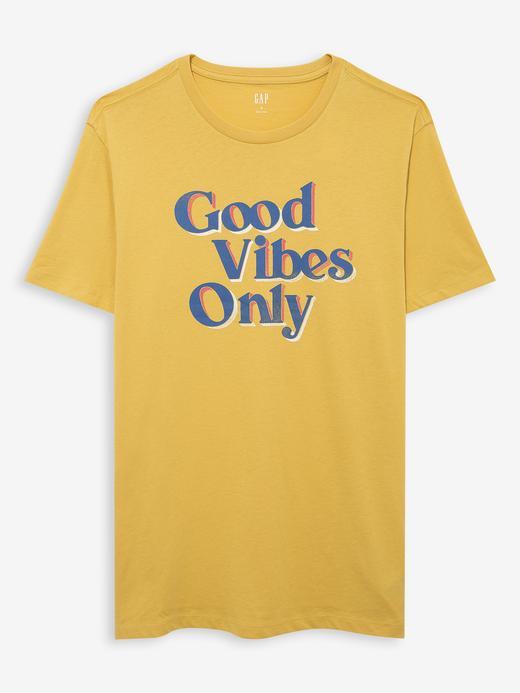 Erkek Sarı Grafik Kısa Kollu T-Shirt