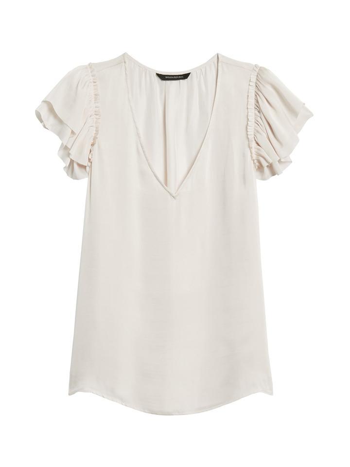 Kadın Pembe Saten V Yaka Bluz