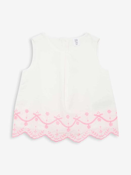 Kız Bebek Beyaz Kolsuz Desenli Bluz