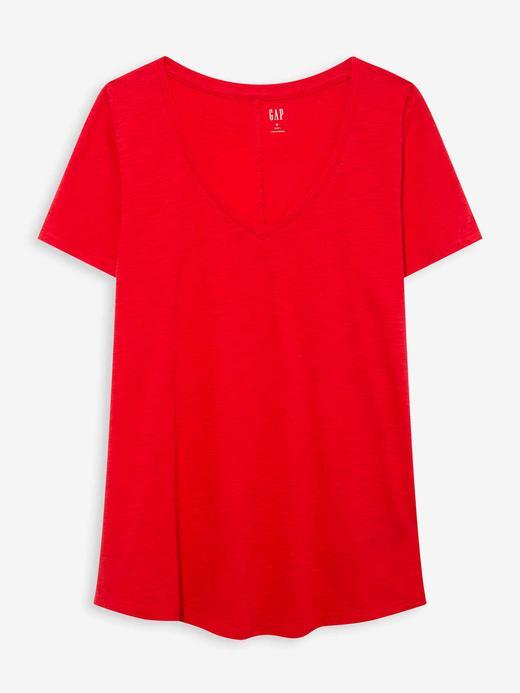 Kadın Kırmızı V Yaka Kısa Kollu T-Shirt