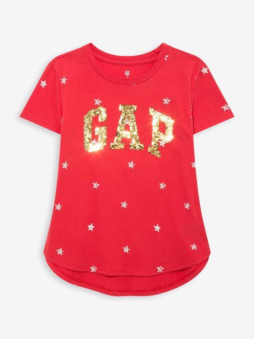 Kız Çocuk Kırmızı Gap Logo Pullu T-Shirt