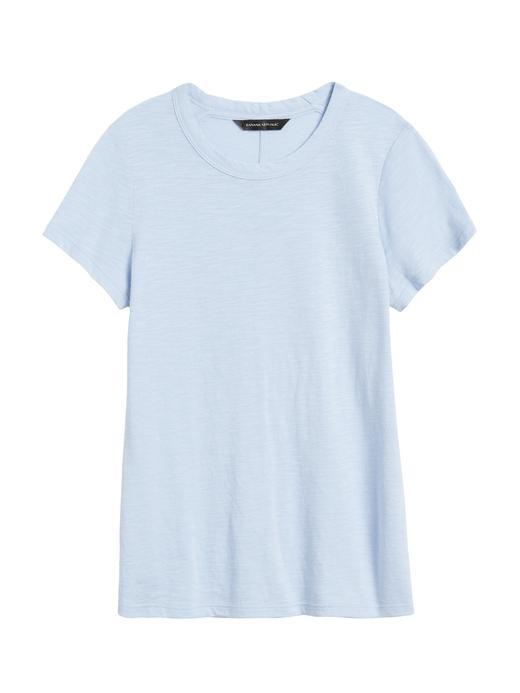 Kadın Mavi Yuvarlak Yakalı Kısa Kollu T-Shirt