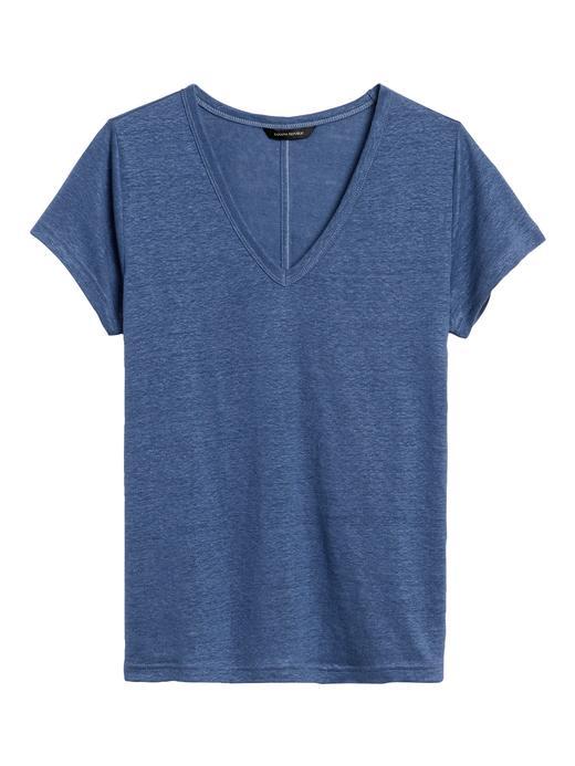 Kadın Mavi V Yaka Keten T-Shirt