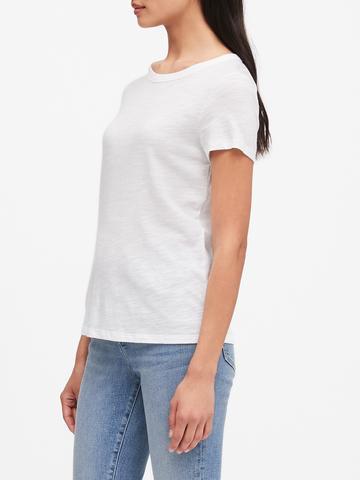 Kadın Beyaz Yuvarlak Yakalı Kısa Kollu T-Shirt
