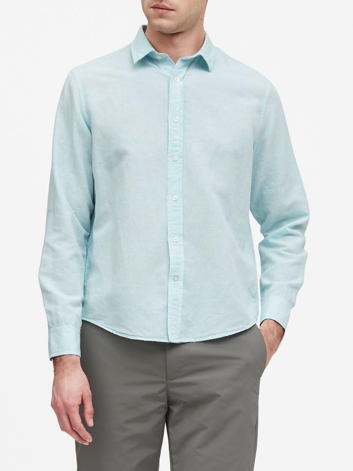 Erkek Beyaz Untucked Slim-Fit Gömlek