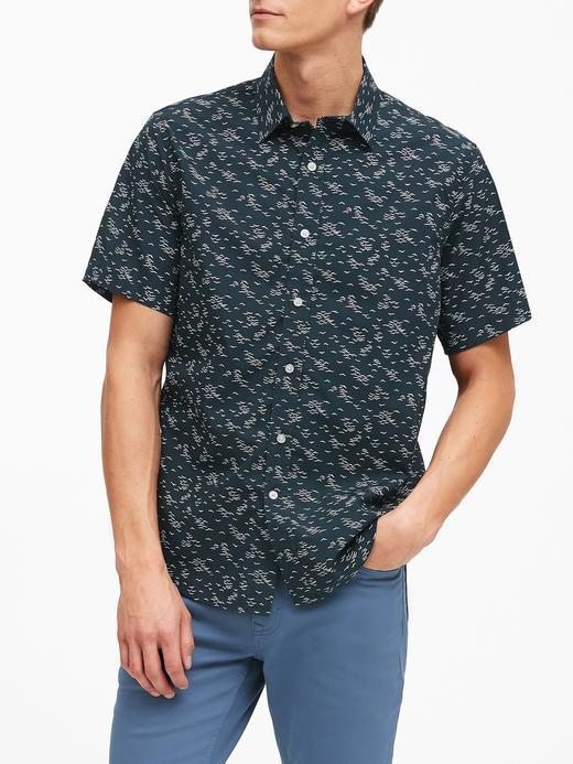 Erkek Lacivert Slim-Fit Luxe Poplin Gömlek