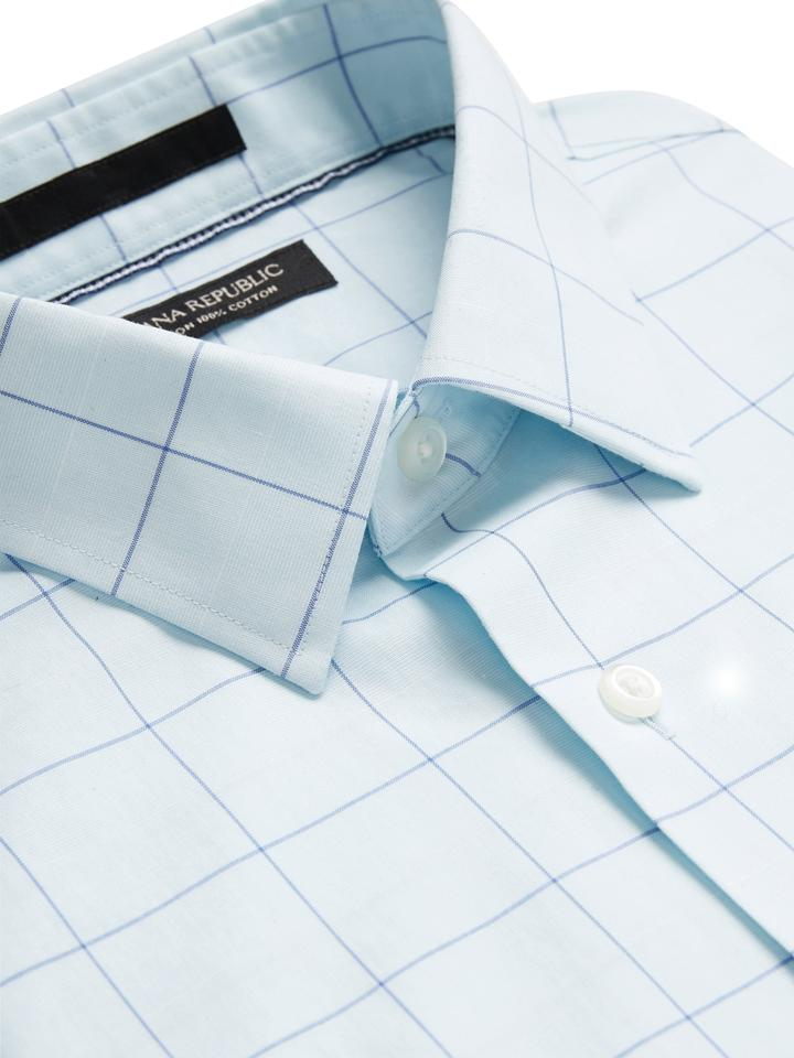 Erkek Mavi Standard-Fit Ütü Gerektirmeyen Gömlek