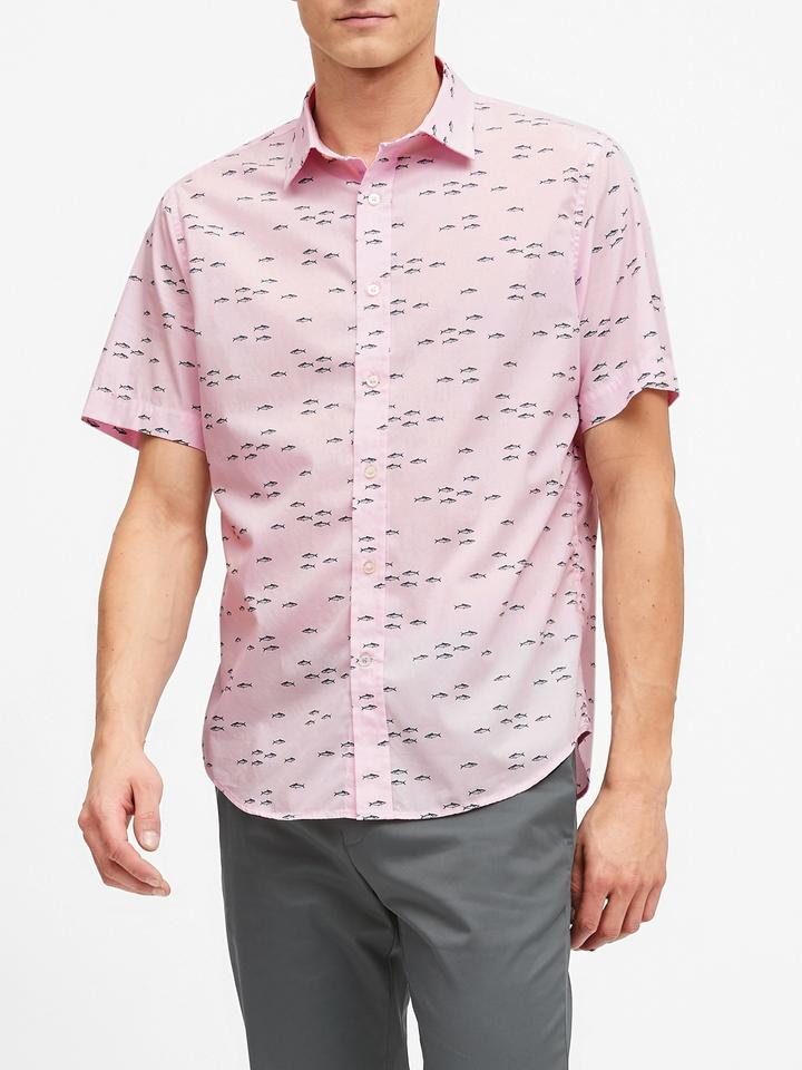 Erkek Pembe Slim-Fit Luxe Poplin Gömlek