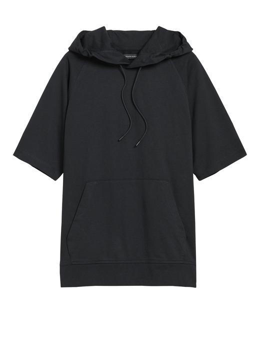 Erkek Siyah Kapüşonlu Kısa Kollu Sweatshirt