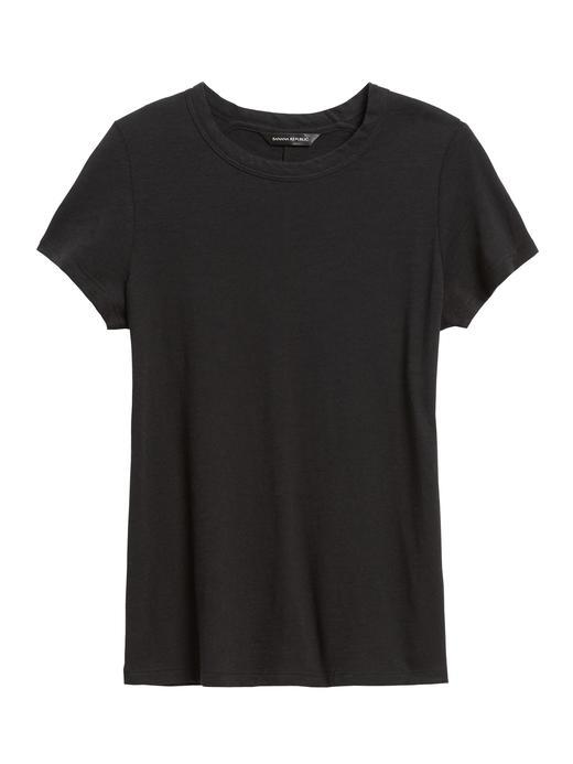 Kadın Siyah Yuvarlak Yakalı Kısa Kollu T-Shirt