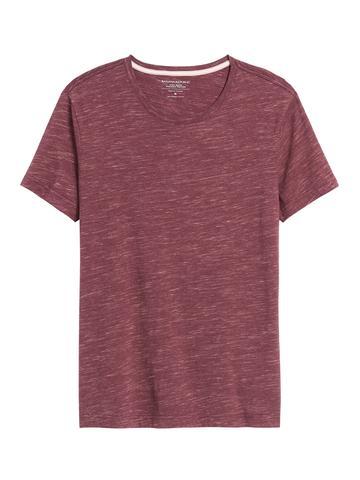Erkek Kırmızı Soft Wash Yuvarlak Yaka T-Shirt