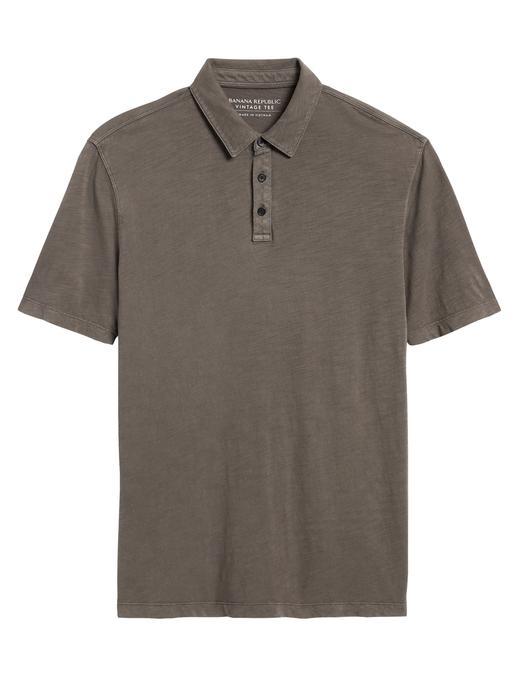 Erkek Yeşil Vintage Polo Yaka T-Shirt