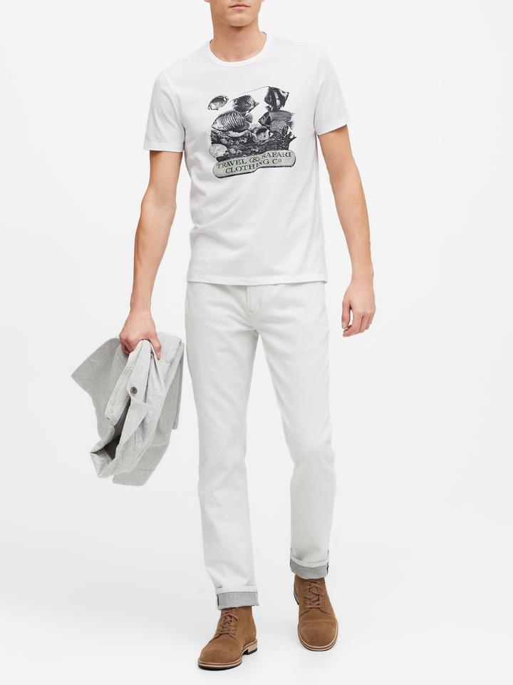 Erkek Beyaz Grafik Desenli Kısa Kollu T-Shirt