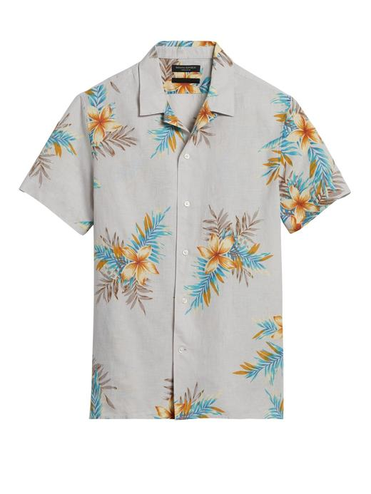 Erkek Kahverengi Slim-Fit Pamuk Keten Karışımlı Gömlek