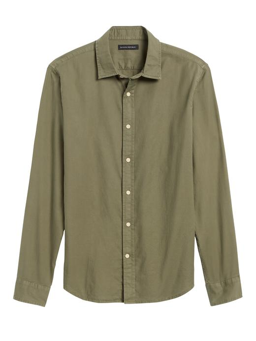 Erkek Yeşil Untucked Slim-Fit Pamuklu Gömlek