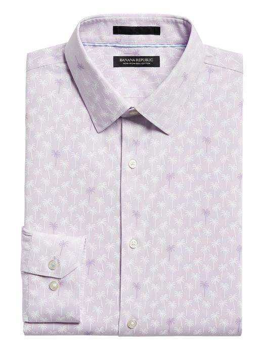 Erkek Mor Slim-Fit Ütü Gerektirmeyen Gömlek