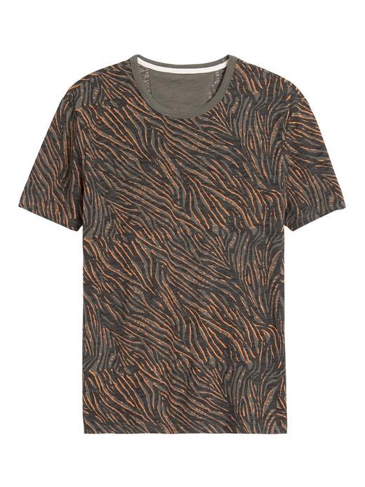 Erkek Yeşil Zebra Desenli T-Shirt