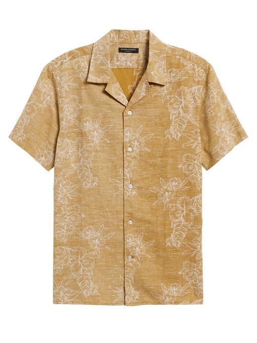 Erkek Sarı Slim-Fit Kısa Kollu Gömlek