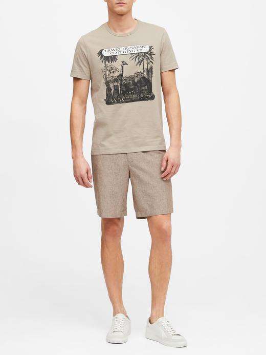 Erkek Bej Grafik Desenli Kısa Kollu T-Shirt