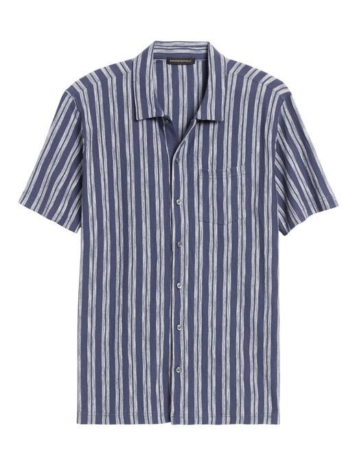 Erkek Mavi Çizgili Kısa Kollu Gömlek