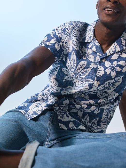 Erkek Lacivert Slim-Fit Keten Gömlek
