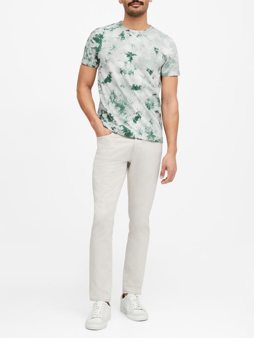 Erkek Yeşil Authentic SUPIMA® Batik Desenli T-Shirt