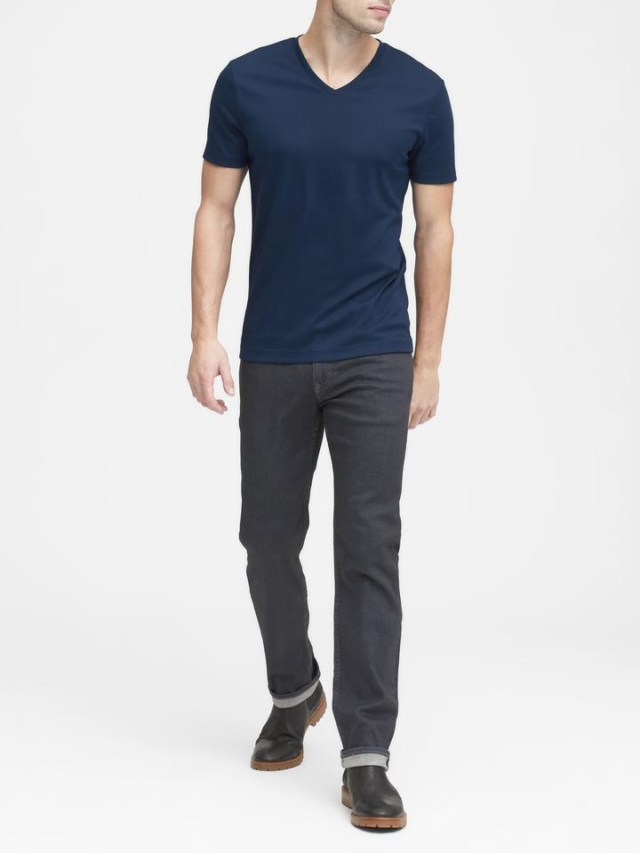 Erkek Beyaz Luxury-Touch V Yaka T-Shirt