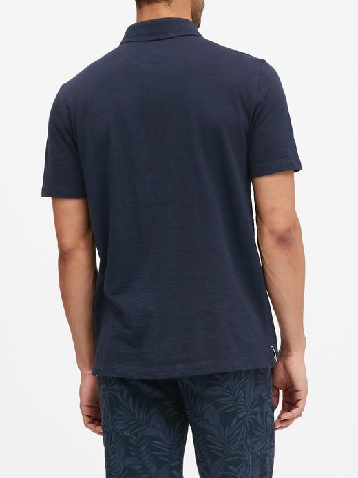 Erkek Lacivert Vintage Polo Yaka T-Shirt