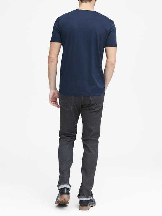 Erkek Siyah Luxury-Touch V Yaka T-Shirt