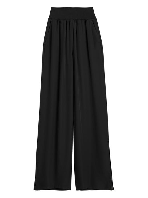 Kadın Siyah Wide-Leg Pantolon