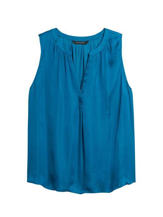 Kadın Mavi Saten Bluz