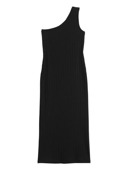 Kadın Siyah Tek Omuzlu Midi Elbise