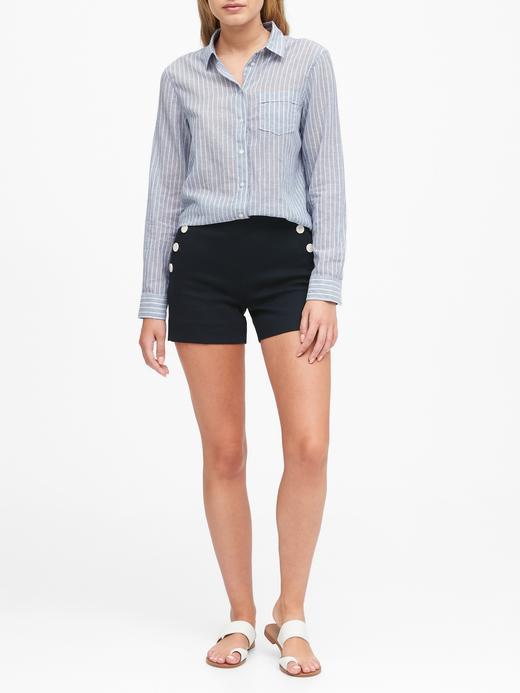 Kadın Mavi Quinn Straight-Fit Gömlek