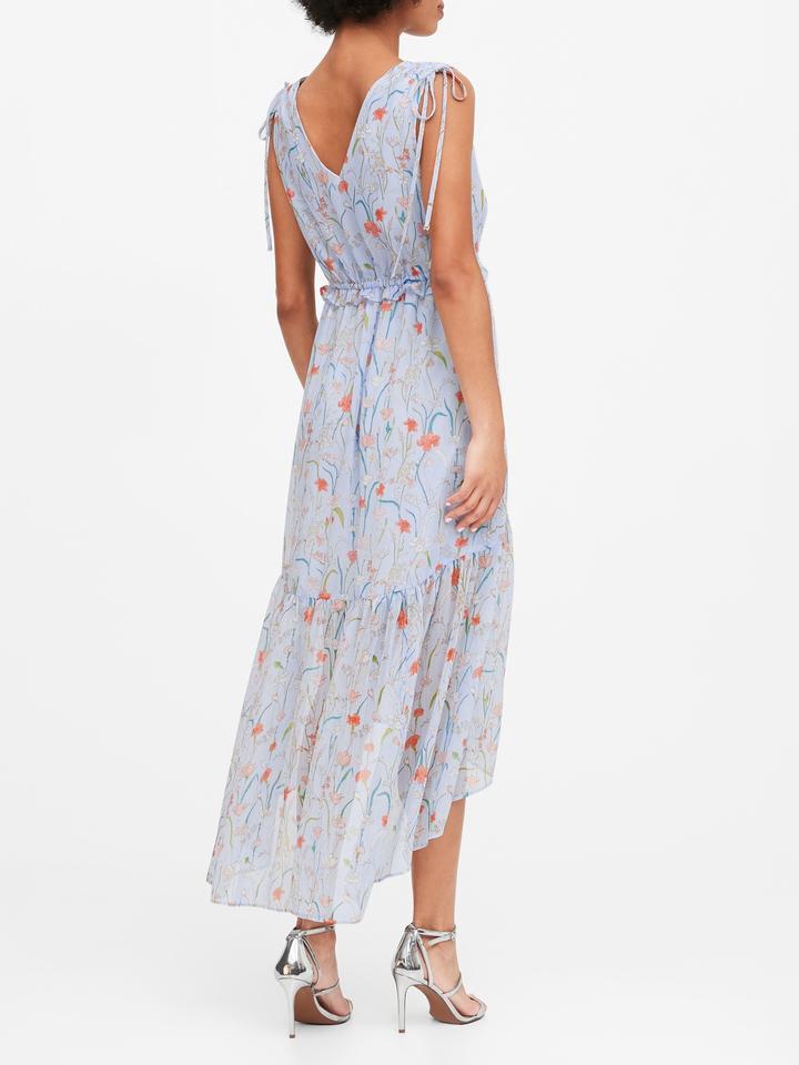 Kadın Mavi Çiçek Desenli Maxi Elbise