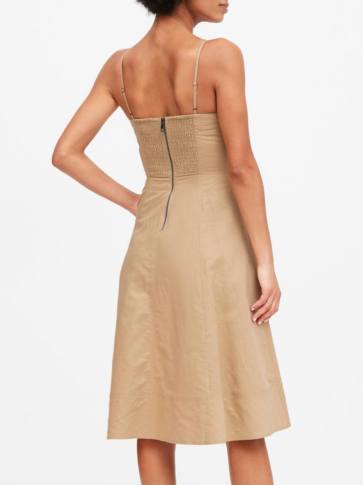 Kadın Bej Keten Pamuk Karışımlı Midi Elbise