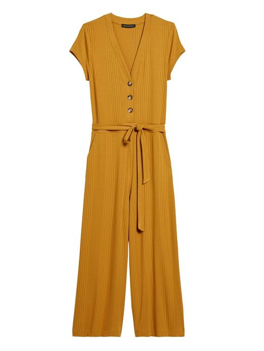 Kadın Sarı Fitilli Cropped Tulum